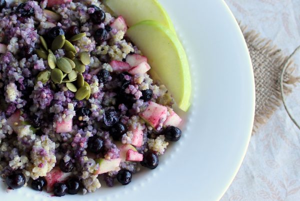 millet blueberry and apple breakfast bowl