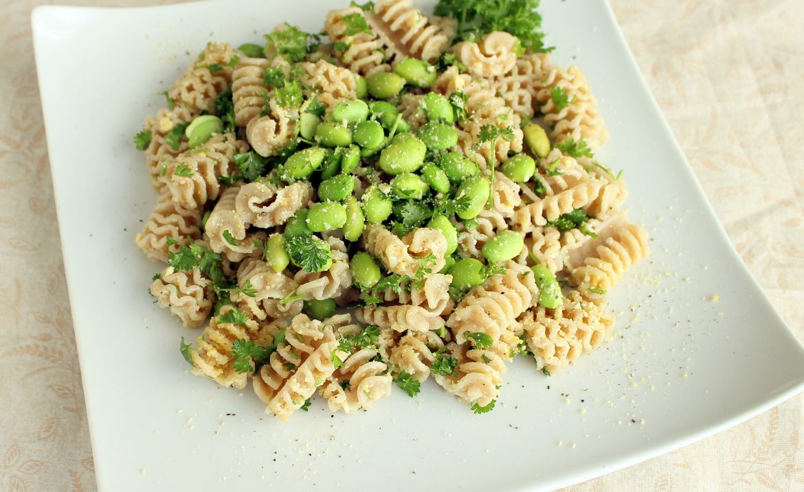 Refreshing Edamame Parsley Pasta